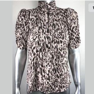 Anthropologie Maeve Top Short Sleeve animal print